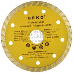 Diamantový kotúč TURBO 115 x 22 mm, celistvý segment, GEKO